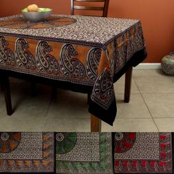 Cotton Paisley Floral Tablecloth Rectangular 60 x 90 Inches