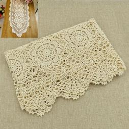 Cotton Rectangle Lace Tablecloth Beige Crochet Home Kitchen
