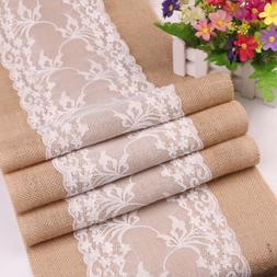 Country Style Lace Burlap Hessian Table Runner Tablecloth We
