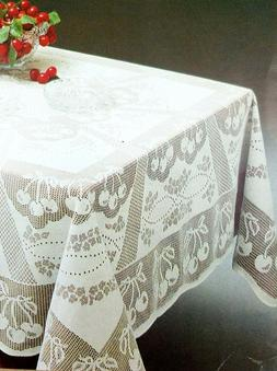 "Cream color Lace tablecloth 61""x102"" Oblong  Big size - cher"