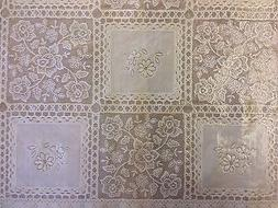 CREAM LACE PLASTIC VINYL PVC OILCLOTH WIPE CLEAN TABLECLOTH