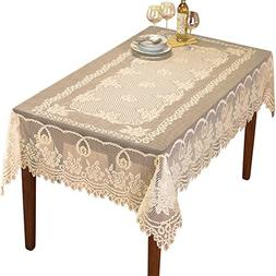 "Collections Etc Crochet Lace Floral Tablecloth, Cream, 60"" X"
