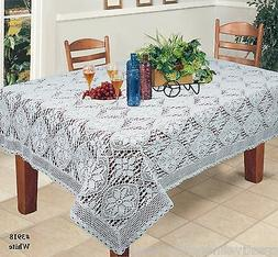 "Crochet Lace Tablecloth Rectangular White 60x84"", 60x104"", 6"
