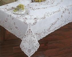Crochet Lace Vinyl Tablecloth 60-Inch by 104-Inch Oblong , W