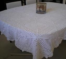 Crochet Table Cloth 100% Cotton Hand Made White or Beige Obl