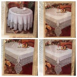 Better Home Crochet Vinyl Lace Tablecloth White, Ivory, Clea