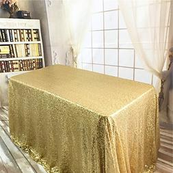 """TRLYC Cute 50"""" 50"""" Sparkly Gold Rectangle Shimmer Tablecloth"""