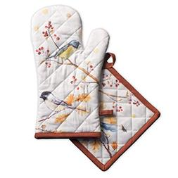 Maison d'Hermine Oak Leaves 100% Cotton Set of Oven Mitt  an
