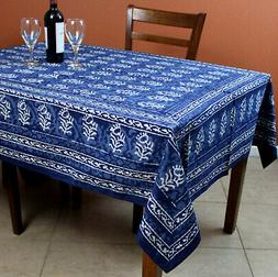 Block Print Tablecloth 60x90 for Rectangle Tables Cotton Dab