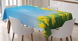 Ambesonne Daffodil Decor Tablecloth, Spring Narcissus Flower