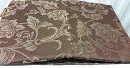 """DAMASK LINEN Tablecloth 70"""" ROUND  FLOWERS ON BROWN by BH"""