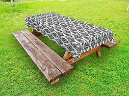 Damask Outdoor Picnic Tablecloth Black and White Baroque Pri