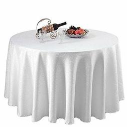 Damask Polyester Cover Dining Tablecloth White Round Table C