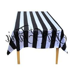 ArtOFabric Decorative Cotton Table Overlay in Black and Whit