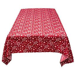 ArtOFabric Decorative Cotton Tablecloth in Red and White Ban