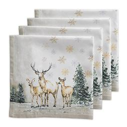 Maison d' Hermine Deer In The Woods 100% Cotton Set Of 4 Nap