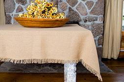 Deluxe Burlap Natural Tan Table Cloth - 60x60""