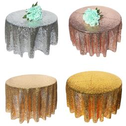 48~120inch Sparkly Sequin Tablecloth Round Wedding Table Cov
