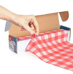 Red Gingham Picnic / Party Plastic Tablecloth Roll, Disposab