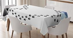 Dog Lover Decor Tablecloth by Ambesonne, Puppy Love Heart Sh