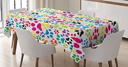 Ambesonne Dog Lover Decor Tablecloth, Colorful Little Paws C