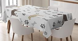 Ambesonne Dog Lover Tablecloth, Paw Print Bones and Dog Silh