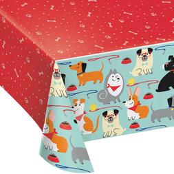 Dog Party Plastic Tablecover Tablecloth Kids Birthday Puppy