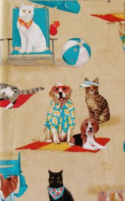 Dogs and Cats Day at the Beach Vinyl Flannel Back Tablecloth