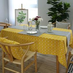 DV_ Yellow Cotton Linen Tablecloth Dining Kitchen Table Cove