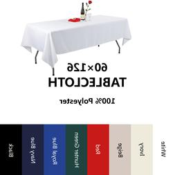 E-TEX 60x126Inch Rectangular Polyester Tablecloth for 8 Foot