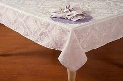 Easter Decor Tablecloth Pastel Purple Lilac Silky Damask Scr