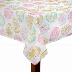Easter Delight Printed Fabric Tablecloth Decorated Eggs Holi