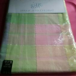 "EASTER PASTEL PLAID GREEN YELLOW PINK SILVER COTTON 52"" X 70"