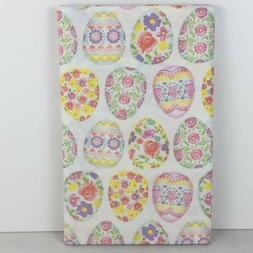 Easter Printed Vinyl Tablecloth Floral Decorated Eggs Holida