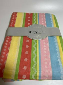 """Easter Tablecloth by DII Square 52"""" 100% Cotton Pastel Strip"""