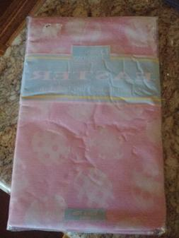 EASTER TABLECLOTH pink Vinyl Flannel Back 52 in X 70 in Rect
