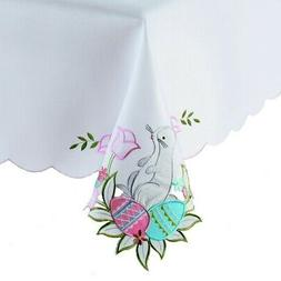 Easter White Rectangle Tablecloth 60 x 84  Egg Bunny Embroid