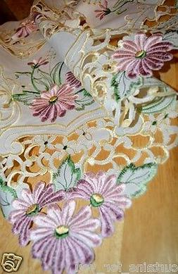 ECRU/PURPLE EMBROIDERED TABLECLOTH/TABLE RUNNER SQUARE 85CMX