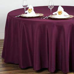 """EGGPLANT PURPLE 108"""" ROUND POLYESTER TABLECLOTH for Wedding"""