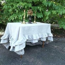 Egyptian Cotton Double Ruffle Square 2PC Tablecloth Dinner T