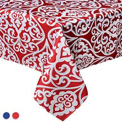 Eforcurtain Elegant Damask Pattern Rectangle Tablecloth Fabr