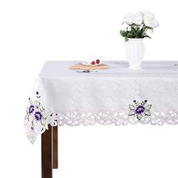 Elegant purple flower embroidery floral dining kitchen home