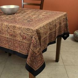 Handmade Elephant Block Print Batik Cotton Tablecloth Rectan