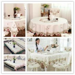 Embroidered Dining Table Cover Tablecloth Rectangle/Round/Sq