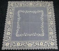 """Embroidered Embroidery Handmade Jeweled 36x36"""" Square Tablec"""