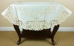 """Embroidered Floral Embroidery Fabric Cutwork 36"""" Tablecloth"""