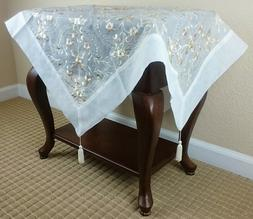 Embroidered Gold Tassel Handmade Rhine Stone Tablecloth 36""