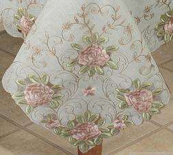 Embroidered Pink Rose Floral Cutwork Sheer Tablecloth 70x104