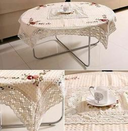 Embroidered Handmade Ribbon Lace Home Decor Round Shape Tabl