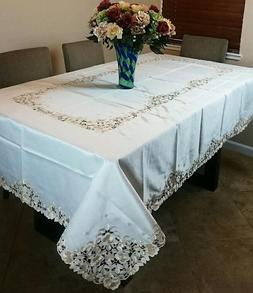 """Embroidery 72x144"""" Floral Cutwork Embroidered Tablecloth w/"""